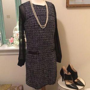 Ann Taylor Tweed Shift Dress Size 8